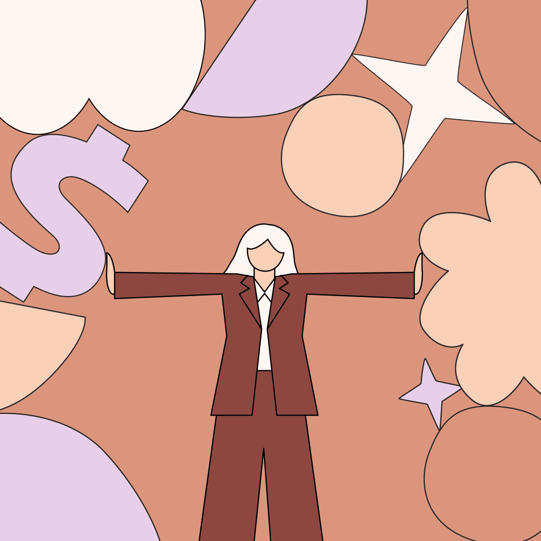 A woman with their arms outstretched and pushing away symbols like a dollar sign and stars. Illustration.