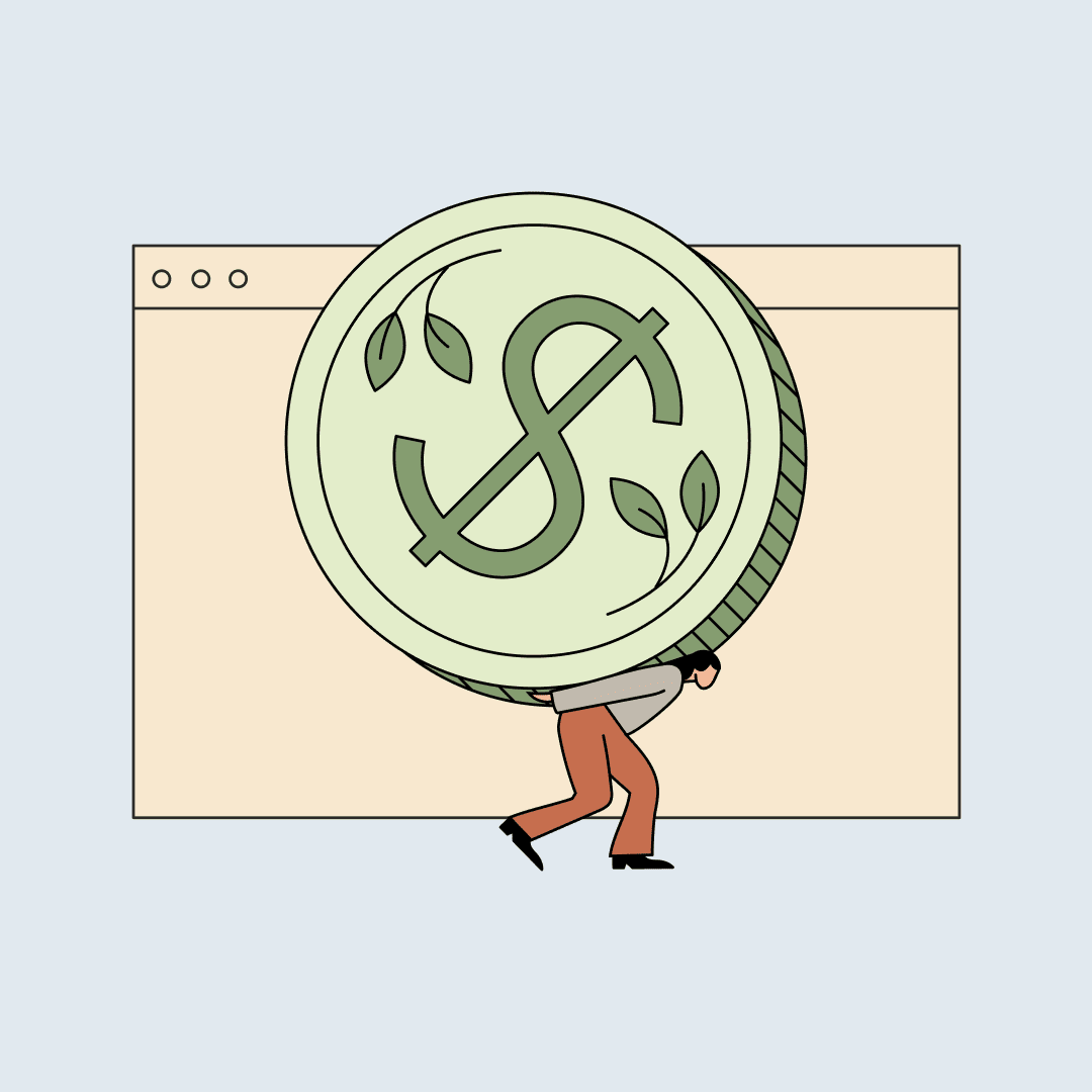 A woman carrying a giant coin on her back, in front of a floating computer screen. Illustration.