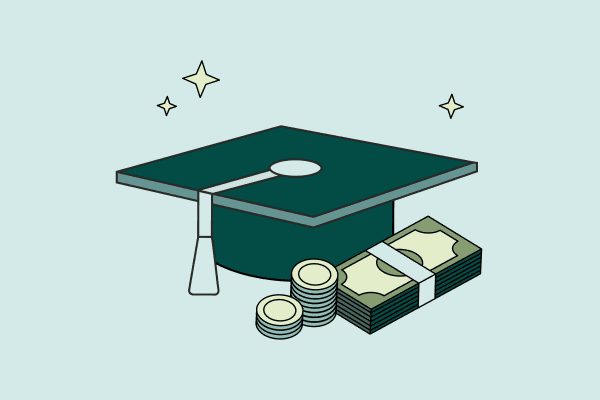 A graduation cap and a stack of bills and coins. Illustration.