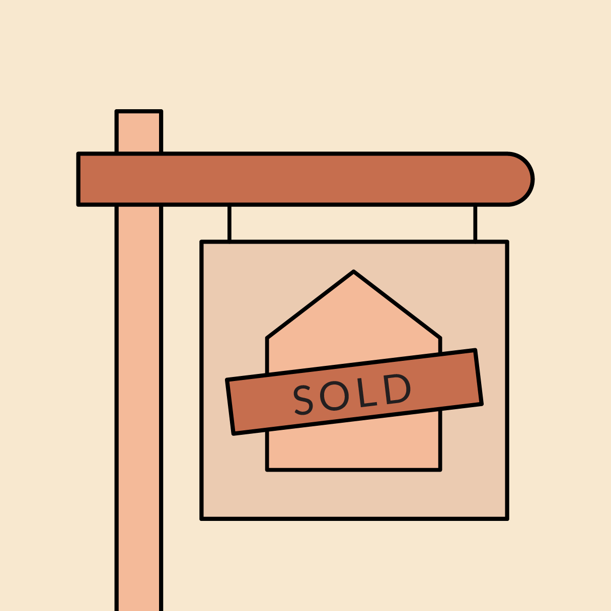 """A real estate """"for sale"""" sign that says """"sold."""" Illustration."""