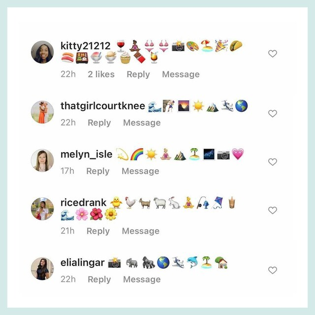 Assortment of Instagram comments featuring emoji that represent our community's dream retirement.
