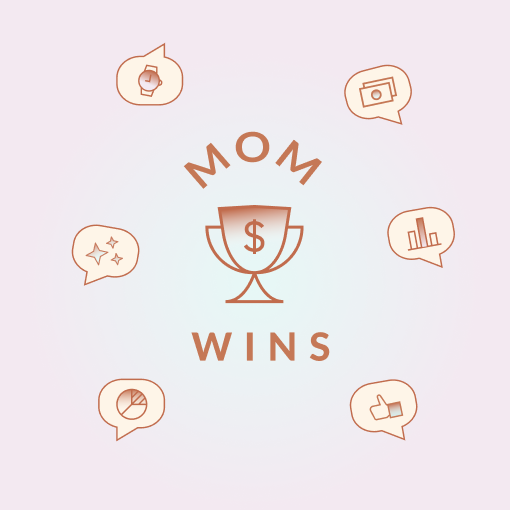 """Graphic image of a trophy surrounded by text that reads, """"Mom wins"""" and floating emoji chat bubbles."""