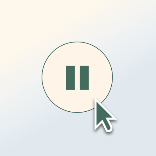 Graphic of an arrow scrolling over a pause button.