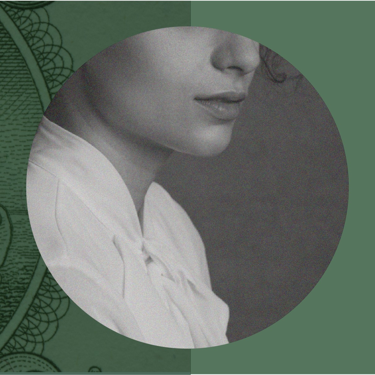 A black and white photo of a woman on top of a dollar bill. Illustration.