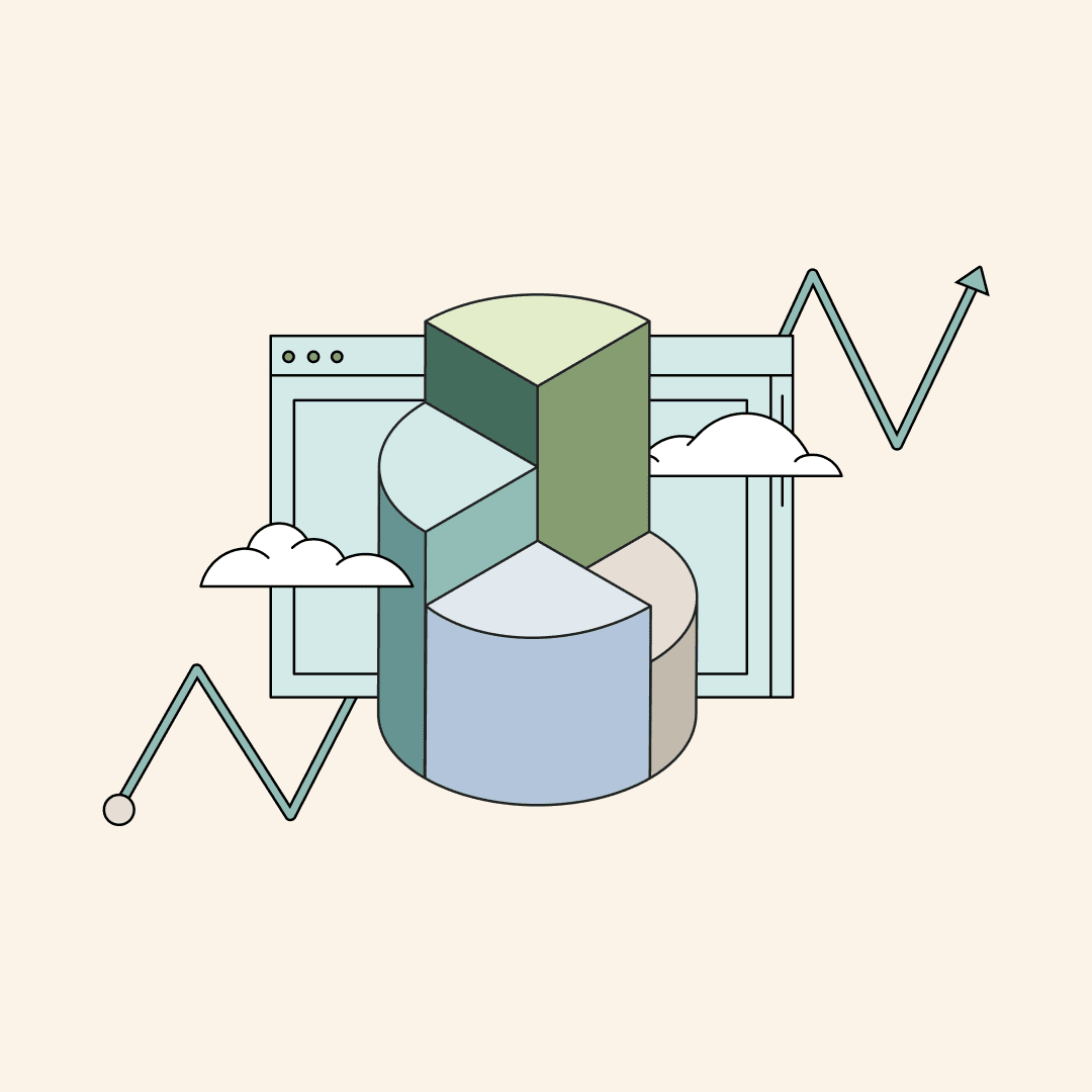3D pie chart rising into the air like stairs. Behind, a computer screen, clouds, and a line graph trending up. Illustration.