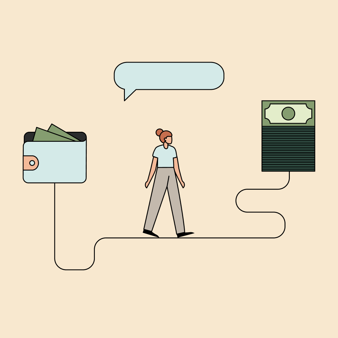 Woman walking between a wallet with money sticking out and a stack of cash. Illustration.