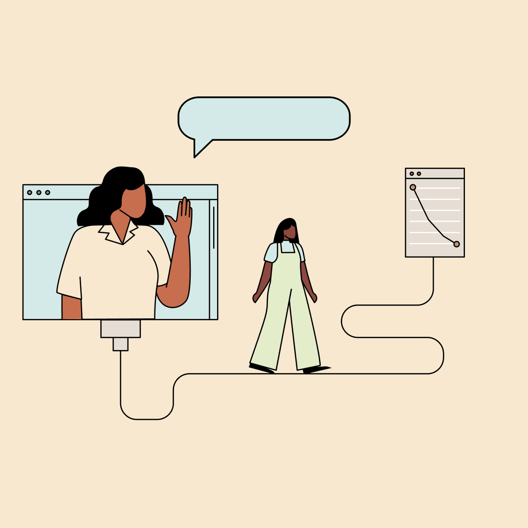 An illustration of one woman waving from a computer screen while the other walks along a wire toward a notepad with a chart drawn on it.