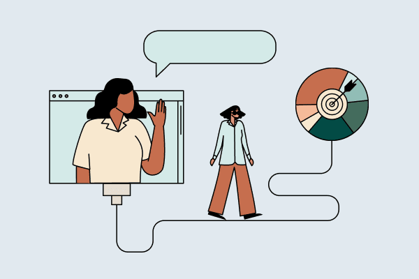 Woman waving from a computer screen while another walks toward a big pie chart with a bull's eye in the middle. Illustration.