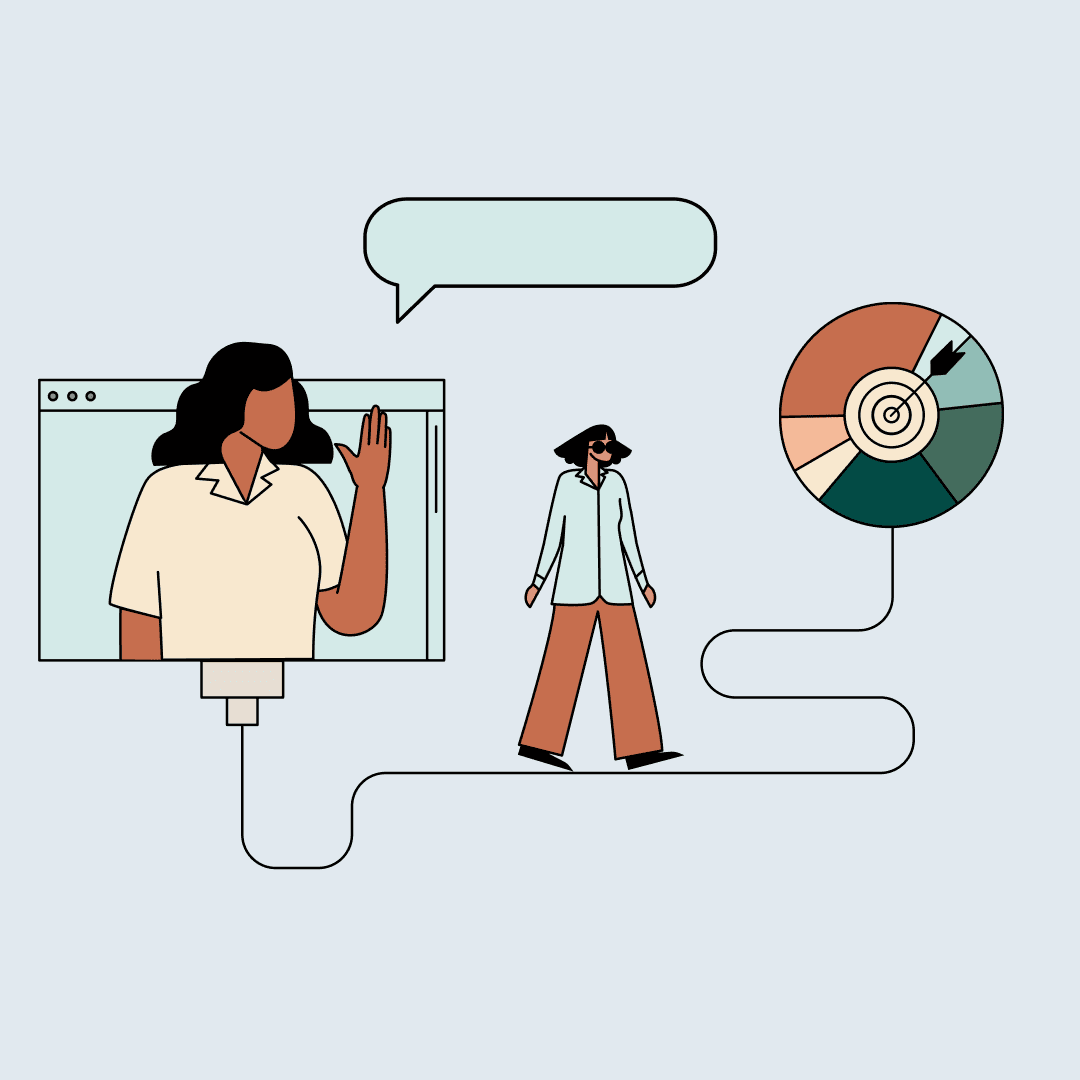 Woman waving from a computer while another walks toward an airplane, pie graph, and house in the distance. Illustration.