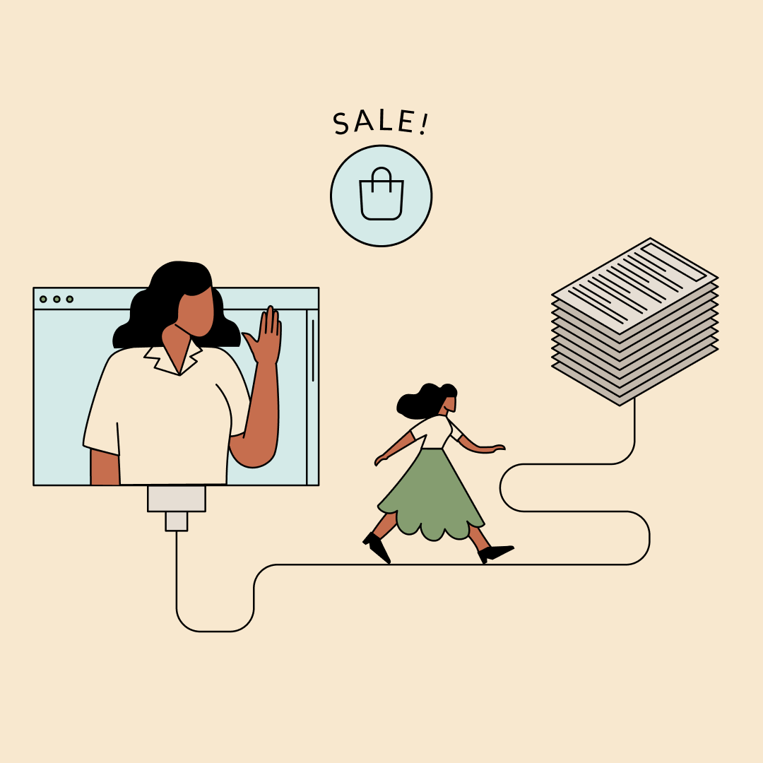 Woman waving from a computer while another walks toward a stack of papers. Illustration.
