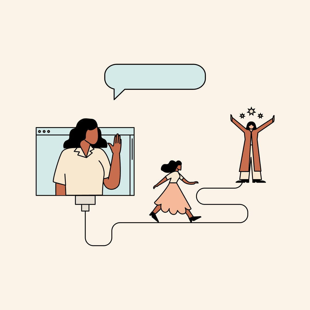 Woman waving from a computer screen while another walks toward a version of herself cheering with joy. Illustration.