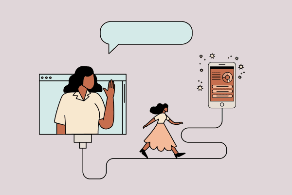 Woman waving from a computer while another walks toward a smartphone buzzing with activity. Illustration.
