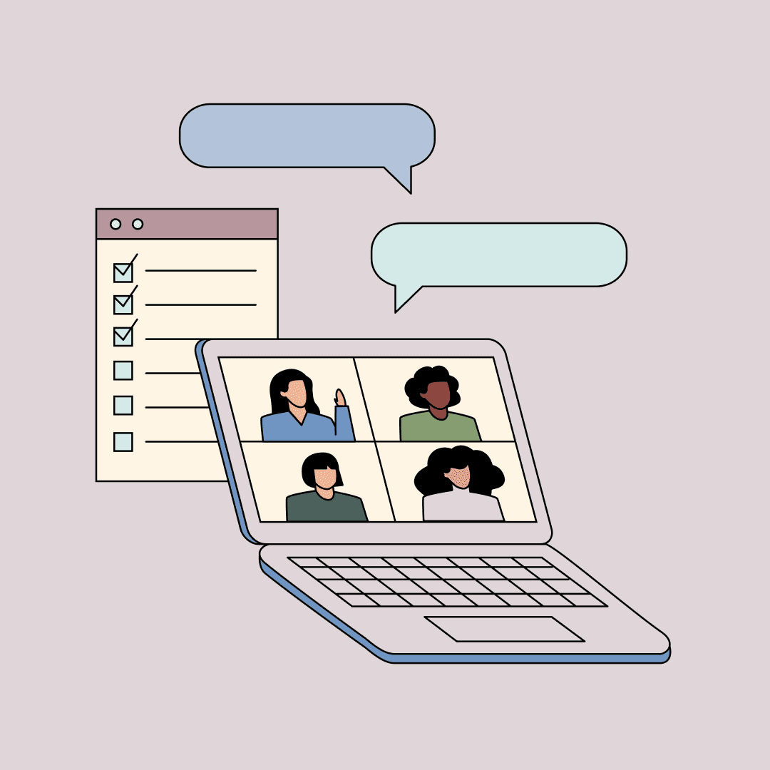 A computer showing women video chatting. A giant checklist, in the distance. Illustration.