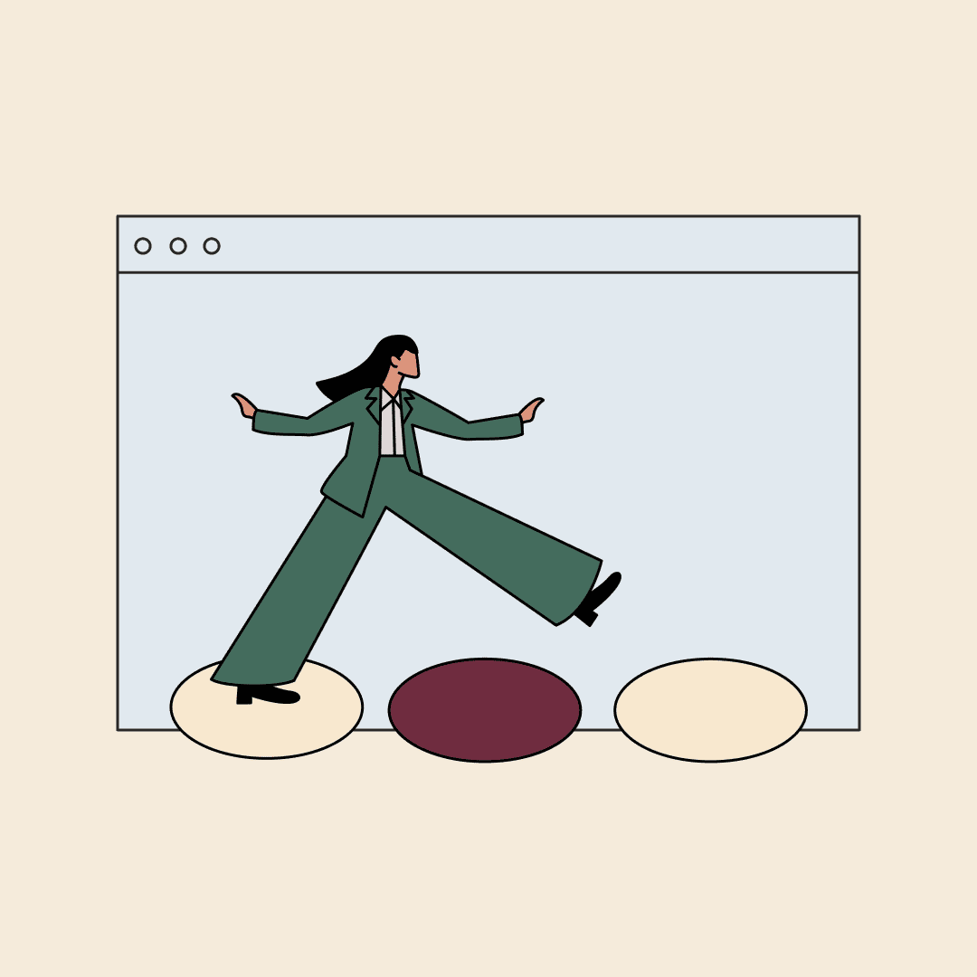 An illustration of a woman in a suit stepping across stepping stones in front of a computer screen.