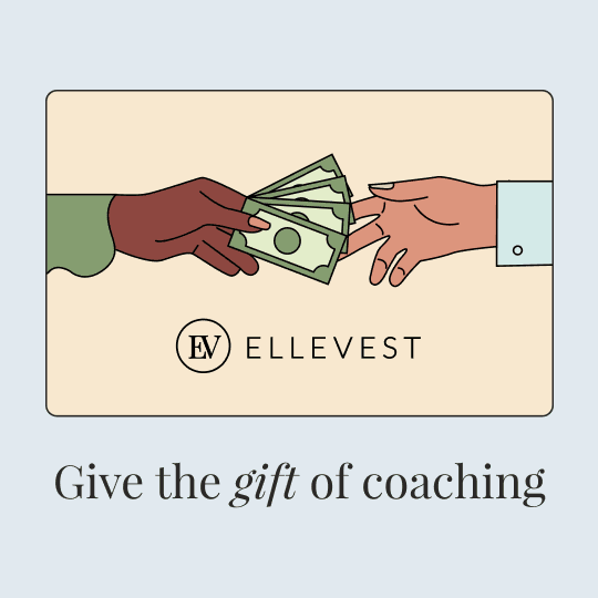 """An illustration of a gift card decorated with one person's hand handing a fan of money to another person's hand. Below, text says """"Give the gift of coaching."""""""