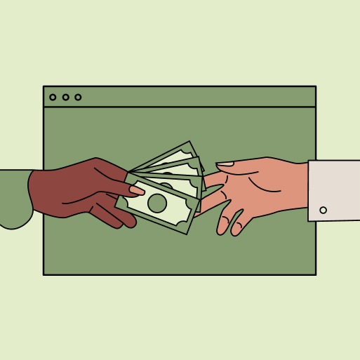 An illustration of two hands exchanging money in front of a laptop screen.
