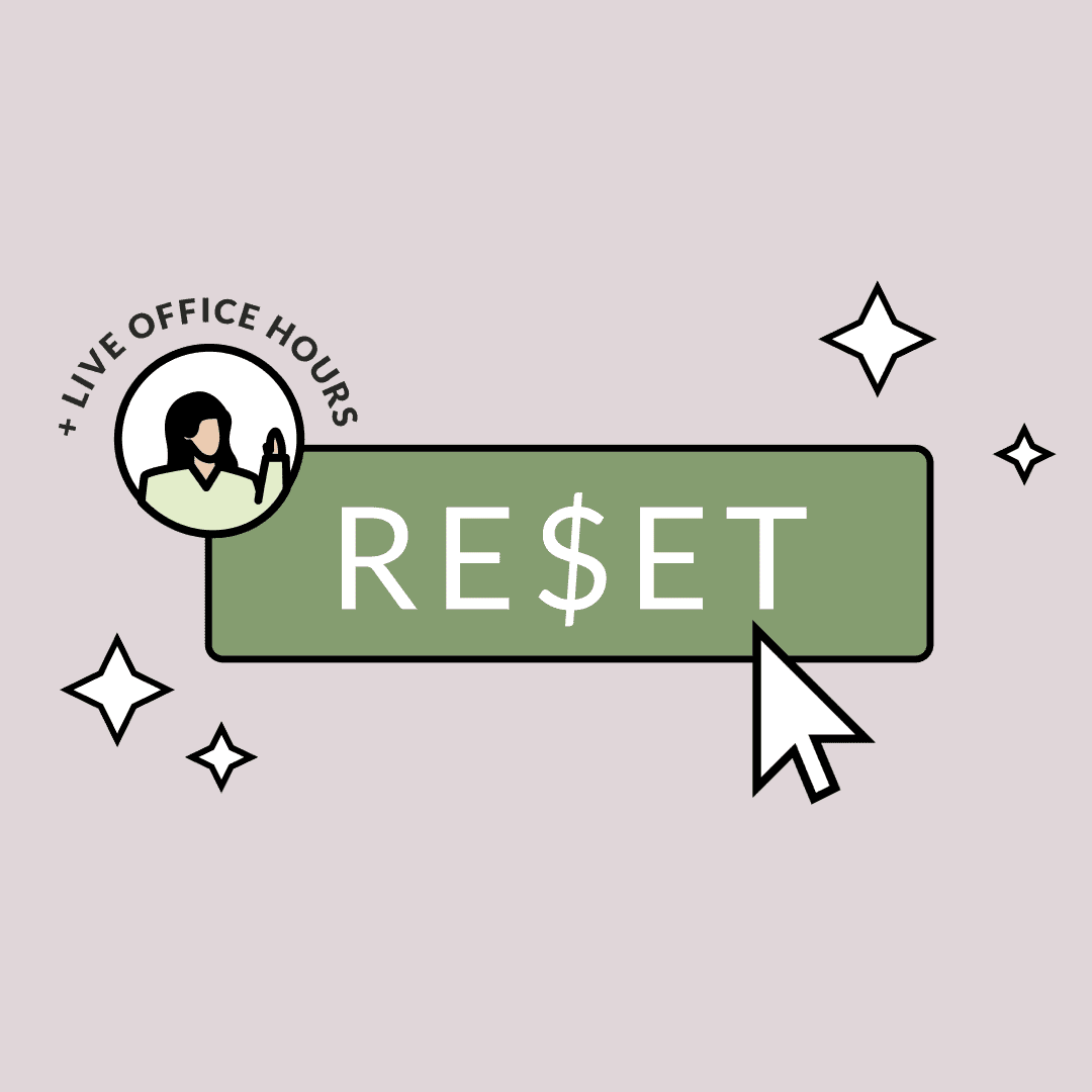 """A cursor pressing on a button labeled, """"RESET."""" A sticker with the text, """"plus live office hours."""" Illustration."""