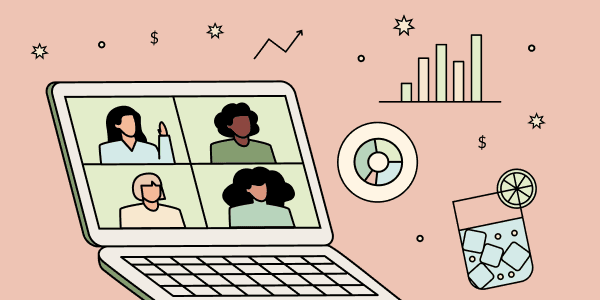 A computer showing women video conferencing. Floating objects including a beverage and graphs. Illustration.