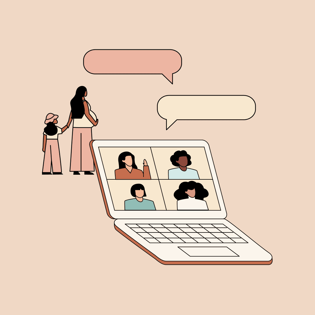 A computer showing women video chatting. A mother holding a child's hand behind the computer, in the distance. Illustration.
