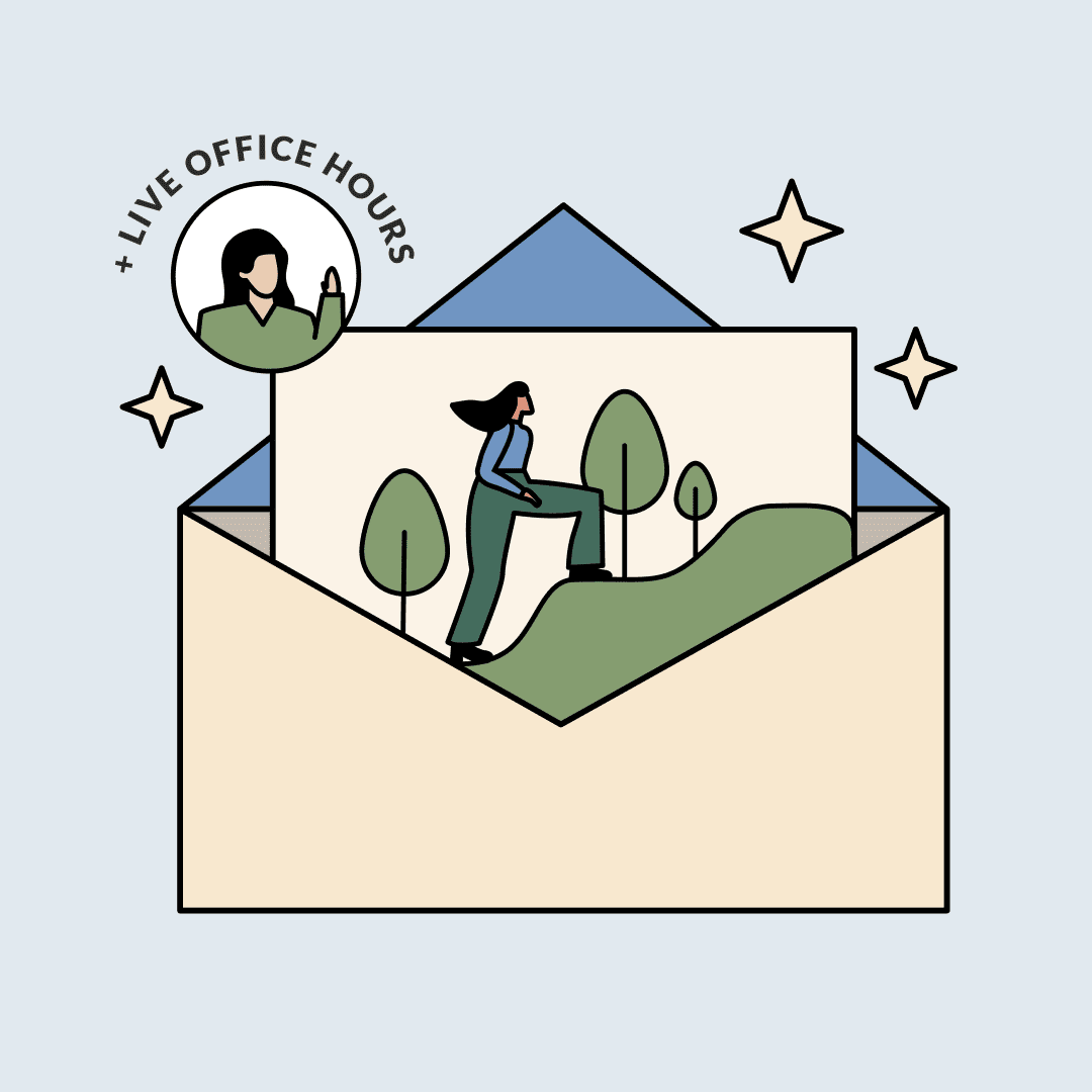 """An envelope with a paper showing a woman climbing a hill. A sticker with the text, """"plus live office hours."""" Illustration."""