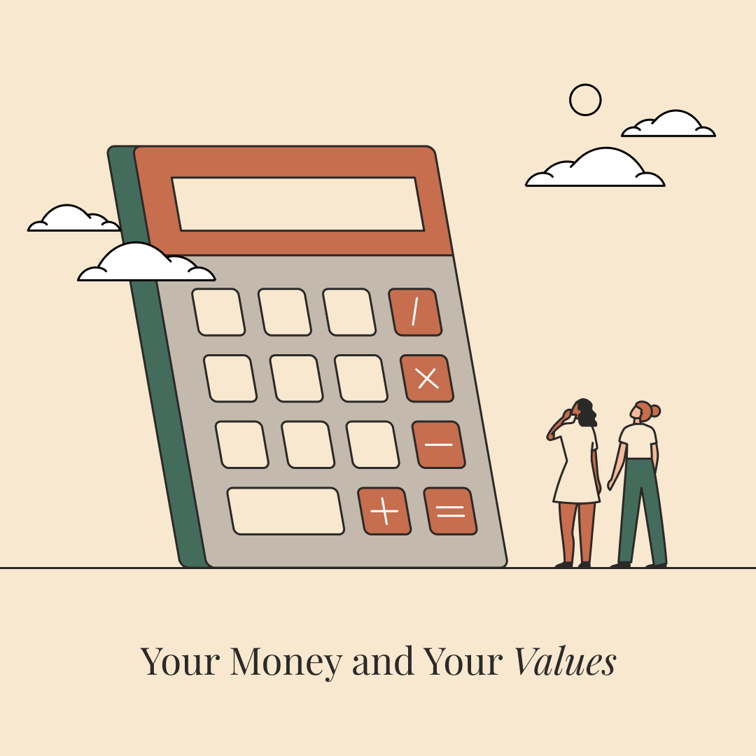 An illustration of two women looking up at a giant four-function calculator.