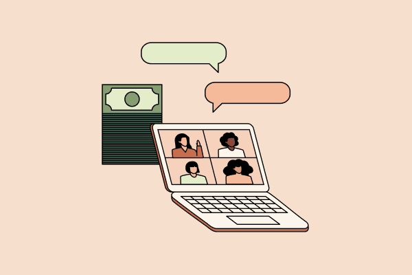 People video conferencing on a computer screen with speech bubbles above it and a stack of money behind it. Illustration.