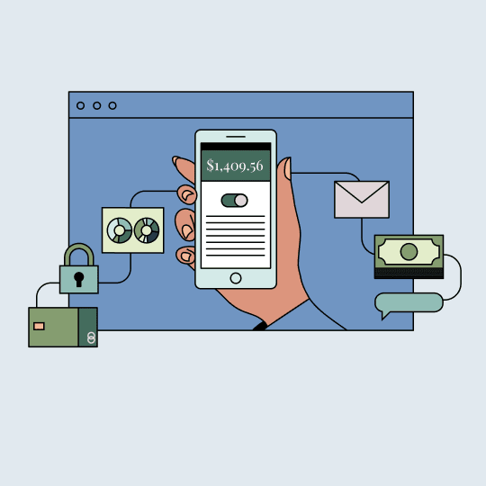 An illustration of a hand holding a smartphone in front of a computer screen. Floating charts, money, and other symbols are connected to the smartphone by lines.