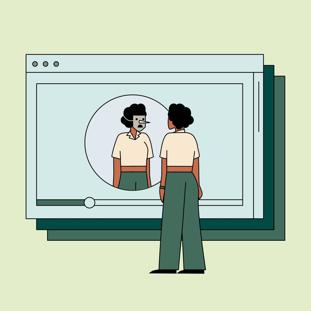 A woman looking into a mirror hung on a computer screen. Her reflection shows her wearing a mask. Illustration.
