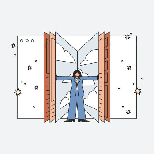 An illustration of a woman inside a giant book filled with clouds. The book is standing on its end and she's holding the pages open. There's a giant computer screen behind her.