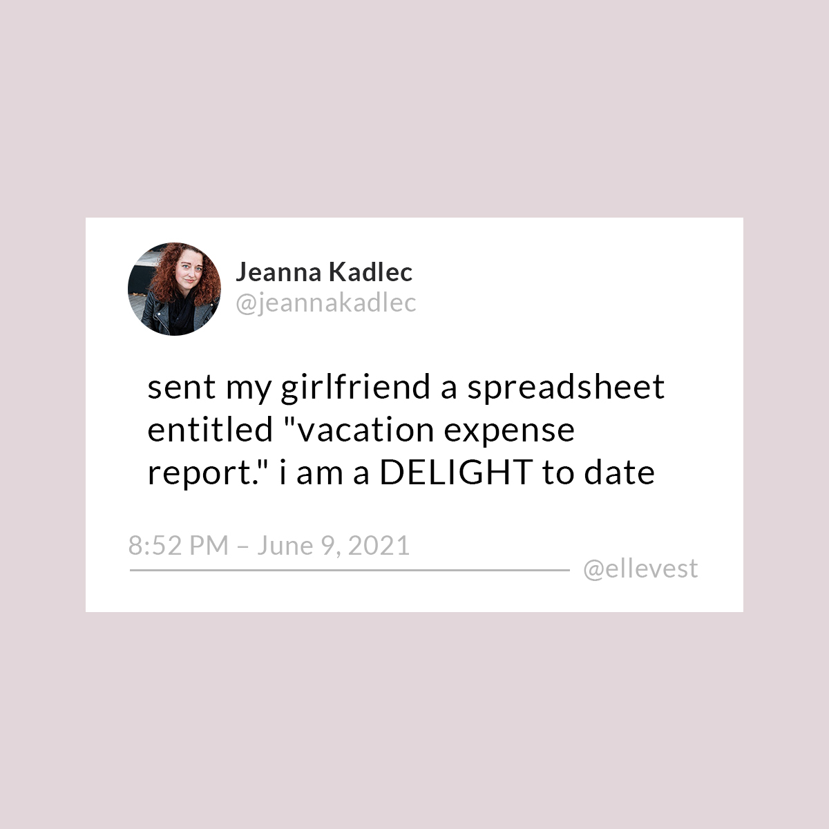 """A tweet that says, """"Sent my girlfriend a spreadsheet entitled 'vacation expense report.' I am a DELIGHT to date."""""""