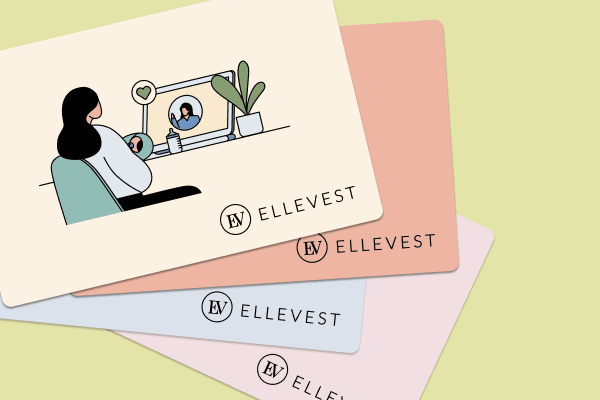 An illustration of four colorful Ellevest gift cards on a green background. The top gift card shows an illustration of a woman sitting at a desk and video conferencing with a coach.