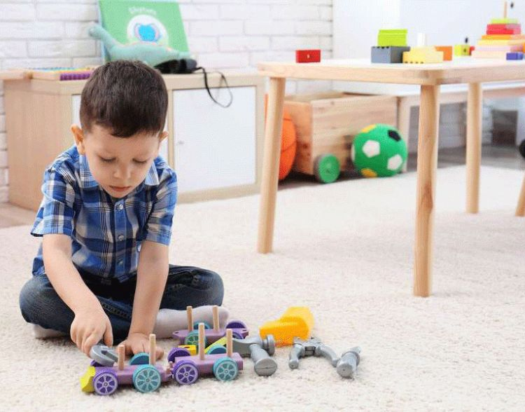 Boy Playing With Toys Block