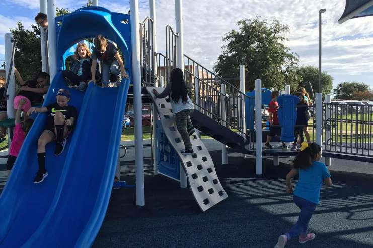 Children playing at Curtis Elementary