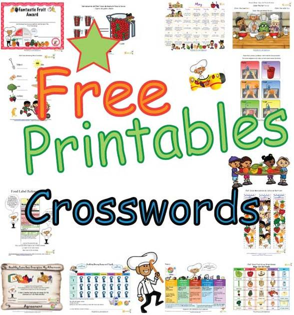 Free Kids Nutrition Crossword Puzzle Pages Fun Printable Food