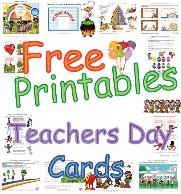Cute Teacher's Day Cards for Kids -'Healthy Foods' Coloring ...