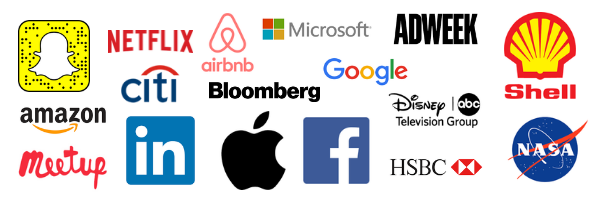 Apple, Netflix, HSBC, Shell, Amazon, Google, Snapchat, NASA, Airbnb, LinkedIn, Facebook, Microsoft
