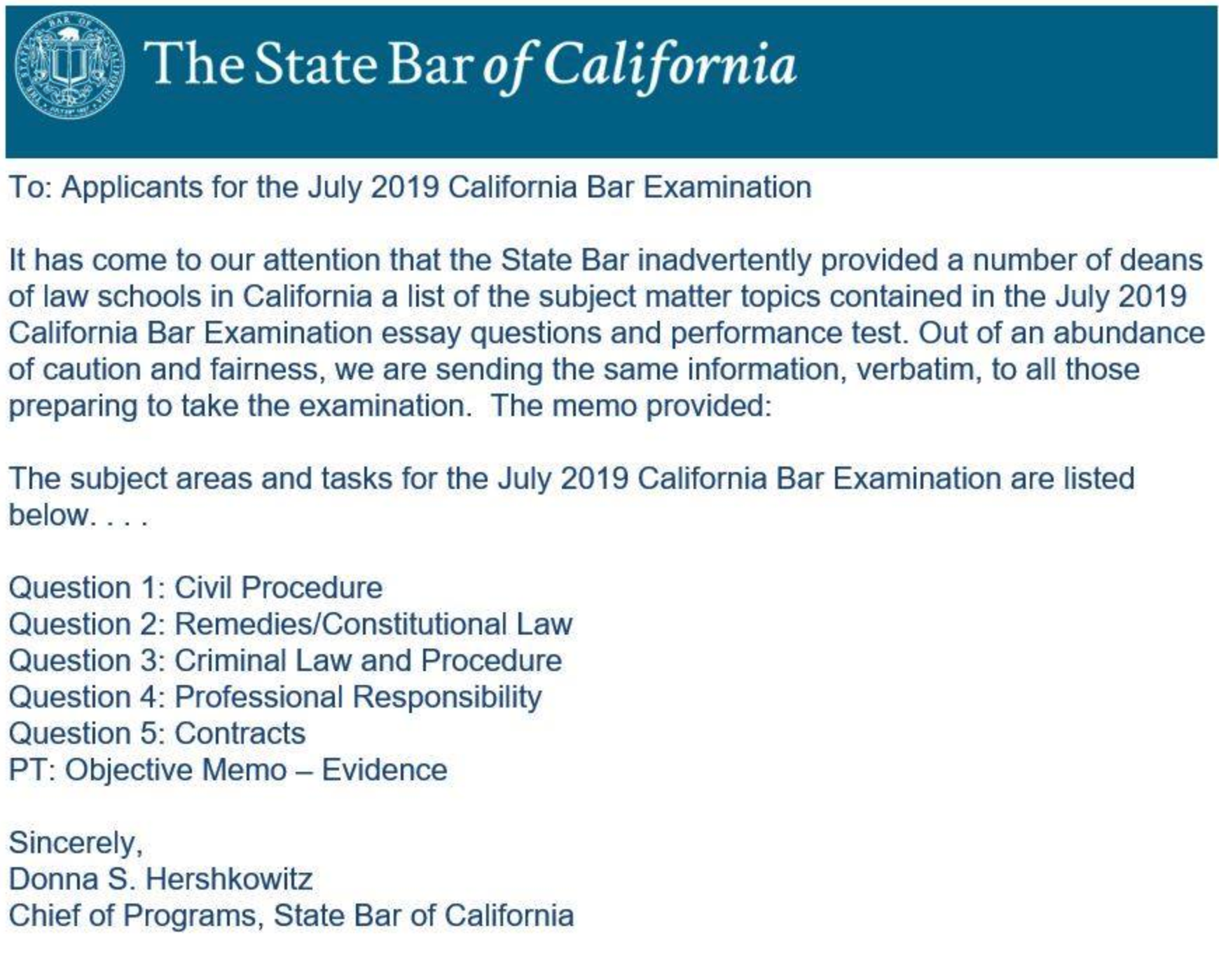 California Bar exam question leak raises questions | Legal io