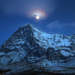 Caption: North Face of Eiger at Night