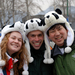 Caption: Bargaining abounded. At the Great Wall, Laura Dover, Ari Daniel Shapiro, and Bob Chen (left to right) purchased panda hats. Shapiro got his for half what Chen paid. , Credit: Lundie Spence.