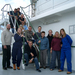 Caption: Kate Larkin and Richard Lampitt (lower left) teamed up with a crew in 2007 to study the Porcupine Abyssal Plain in the Northeast Atlantic Ocean. , Credit: Kate Larkin.