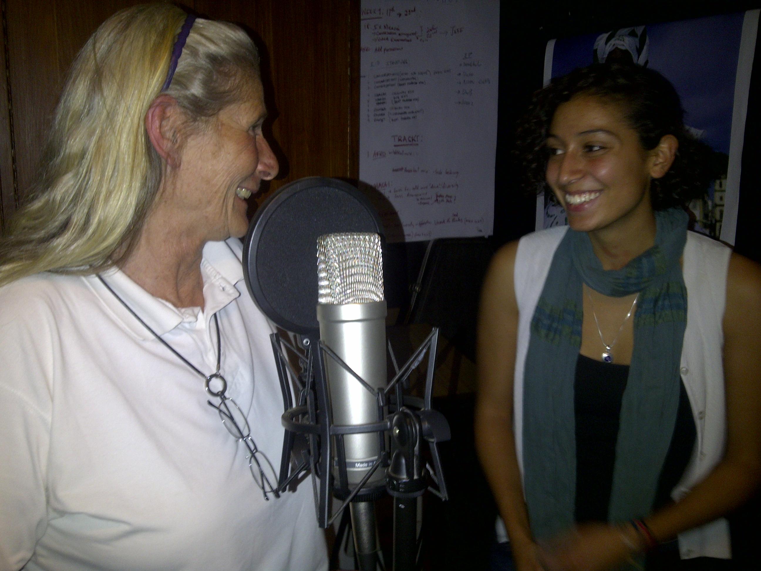Caption: Annie Olivecrona in recording studio with Elleni Stephanou, Credit: Paula Kahumbu