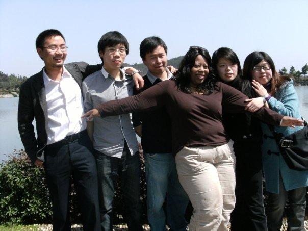 Caption: Jo Bai and her fellow English teachers in Yuyao, China.
