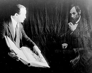 "Caption: ""Houdini and the ghost of Abraham Lincoln,"" ca. 1920, Credit: Library of Congress"