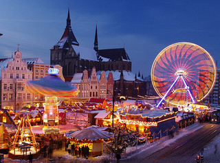Caption: A Christmas market in Rostock, Germany, Credit: Carston Pescht