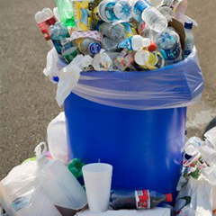 Caption: Consumer packaging generates tons of waste., Credit: http://5gyres.org