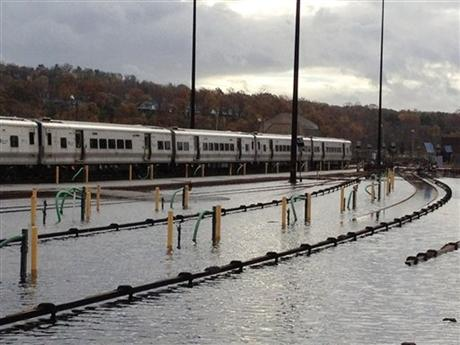 Caption: Image: Trains stand in a flooded Metro-North's Harmon Yard, Oct. 31, 2012, on the Hudson Line, in Croton-on-Hudson, New York in the aftermath of superstorm Sandy, Credit: AP Photo | Metropolitan Transportation Authority