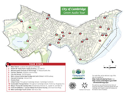 Caption: Find the full-size tour map at: http://web.mit.edu/tyr/tours/Cambridge-Green-Audio-Tour/CambridgeGreenAudioTourMap-8.5x11.pdf