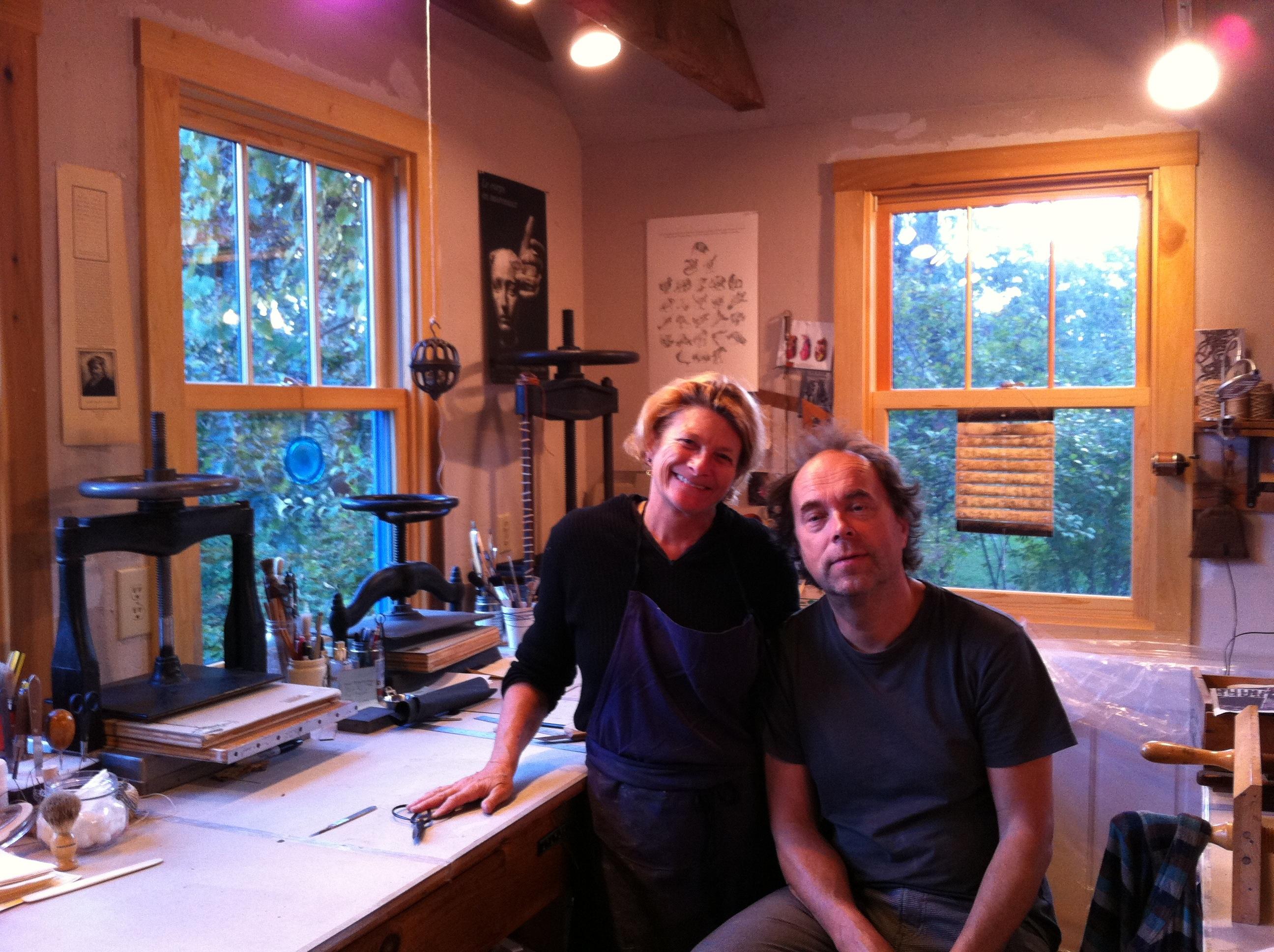 Caption: Flip Scipio and wife Mitzi Pratt, in their Martha's Vineyard studio., Credit: Emma de Campo