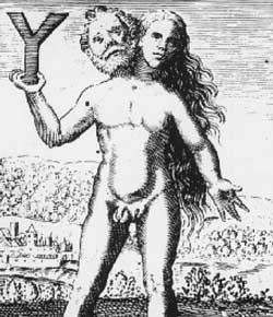 Caption: An engraving from Michael Maier's Symbola Aureae Mensae (1617) depicting an alchemical androgyne. , Credit: Wikimedia Commons. Also available in CHF's collections.
