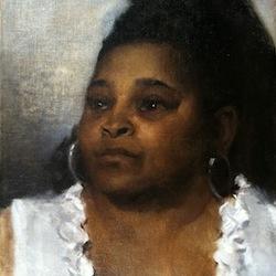 Caption: Detain of Yolanda's portrait, Credit: Painting by Emile B Klein